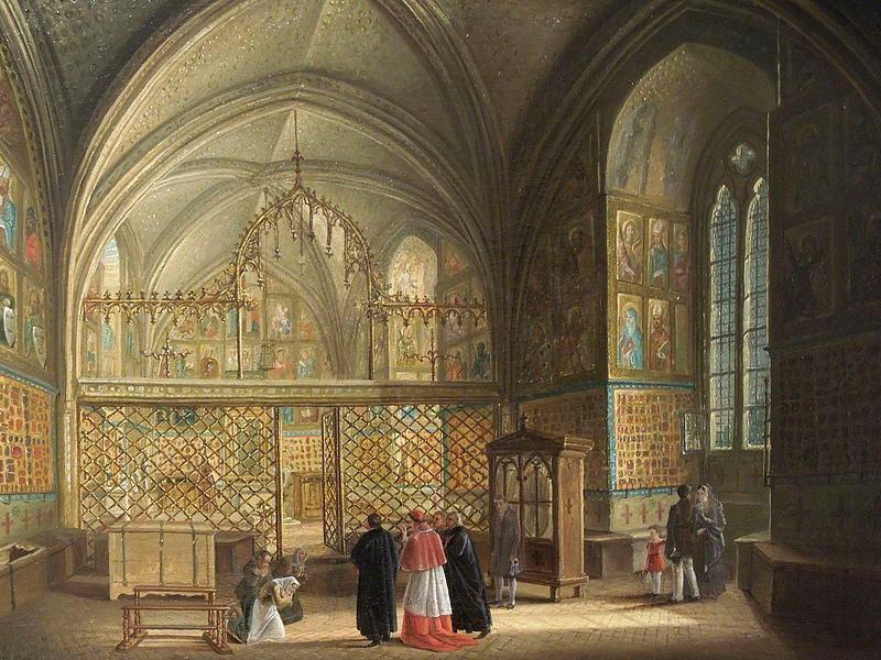 Detta kapell ska ha utgjort den vackraste delen av Karl IV:s slott. Ludvík Kohls målning Chapel of the Holy Cross at Karlštejn, daterad 1820.