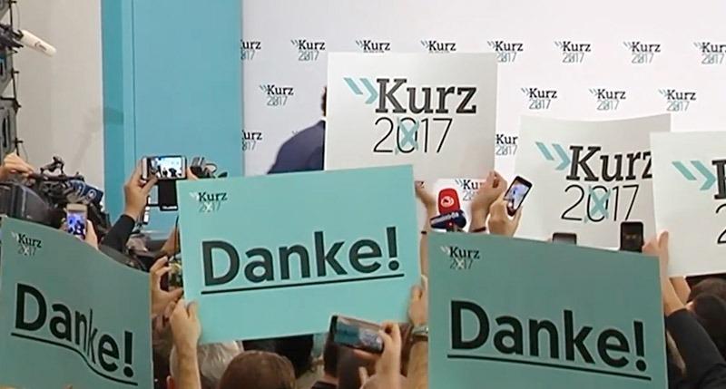 Från ÖVP:s vallokal riktar man ett tack till väljarna. Stillbild: ZDF