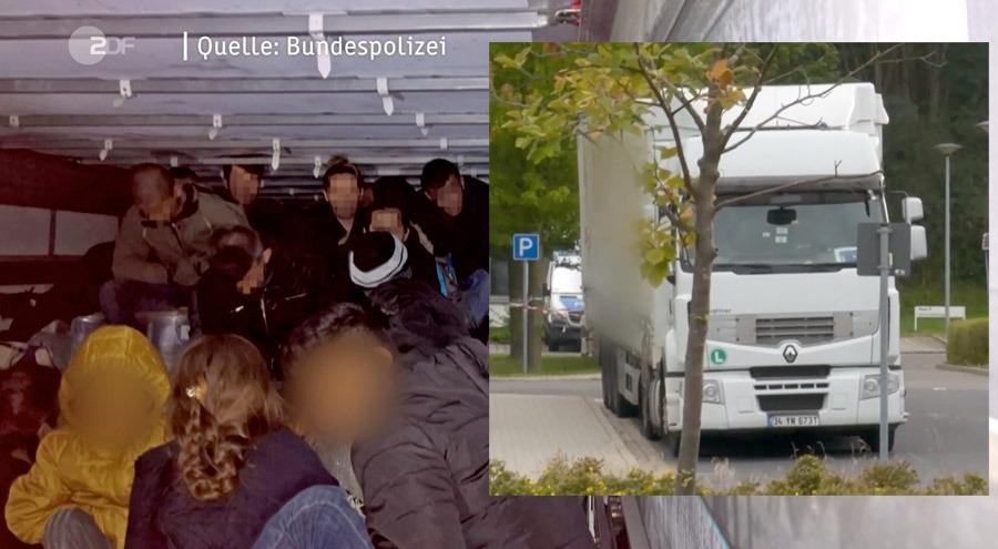 Lastbilen som smugglade 51 migranter som ville fly vidare från Rumänien till Tyskland. Stillbild: ZDF / tyska polisen